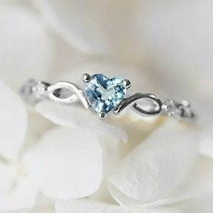 🆕️💍Genuine Aquamarine heart ring sterling silver